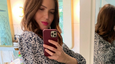Mandy Moore Reveals Off Her Baby Bump in a Fairly Print Costume