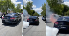 AMG C63 Driver's Burnout Strive Results In Engine Explosion And Catastrophic Fire