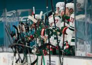 Wild's Marcus Foligno asks linesmen to break up fight as he bloodies Sharks' NikolaiKnyzhov