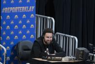 Highlighting Klay Thompson's performance as sideline reporter vs. Pistons