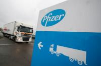 Pfizer medical info center marked in Herzliya, 'Palestine'