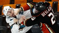 Dubnyk makes 34 saves in Sharks' 6-0 win over Ducks