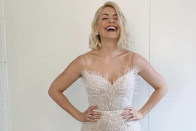 Holly Willoughby wowed in a white strapless dress for the Dancing On Ice final