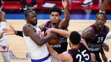 Harris leads 76ers to 6th straight capture, 99-96 over Knicks
