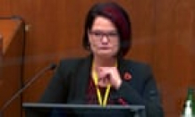 George Floyd's girlfriend testifies through tears about opioid addiction – video