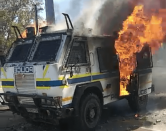 WATCH | Rioting Mthatha students torch armoured automobile, chase police off campus
