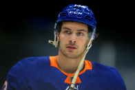 Contemporary York Islanders' Mathew Barzal hit in groin by stick of Boston Bruins' David Krejci