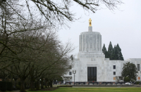 Oregon state bag. filmed instructing people on how to access state Capitol
