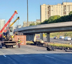 Twin carriageway 401 westbound express lanes closed at Twin carriageway 404 due to truck rollover