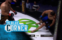 ACA 126 fighter's stiff body held up by cage after vicious knockout