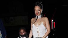 Rihanna Rocks Sexy Blush Shuffle Dress & Heaps Of Jewelry On Dinner Date With Niece Majesty, 7