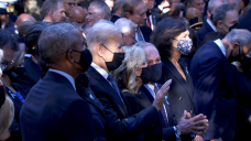 Biden and the first lady are joined by the Obamas and the Clintons for a tribute in Contemporary York as the US marks the anniversary of 9/11