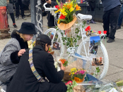 Montreal cyclist killed by truck honoured with ghost bike ceremony